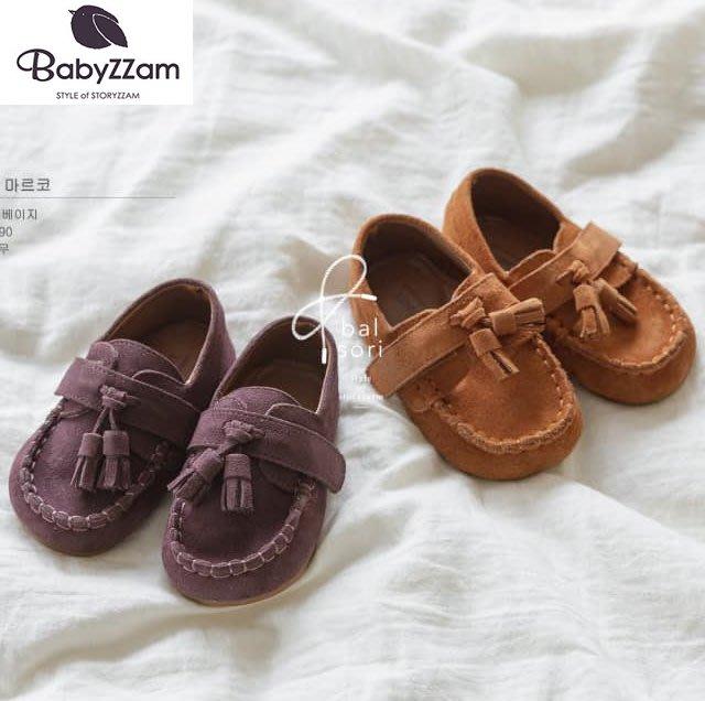 『※妳好,可愛※』妳好可愛韓國童鞋 BABYZZAM~正韓 真皮款 經典英倫風流蘇休閒鞋  魔鬼氈休閒鞋  流蘇鞋 童鞋