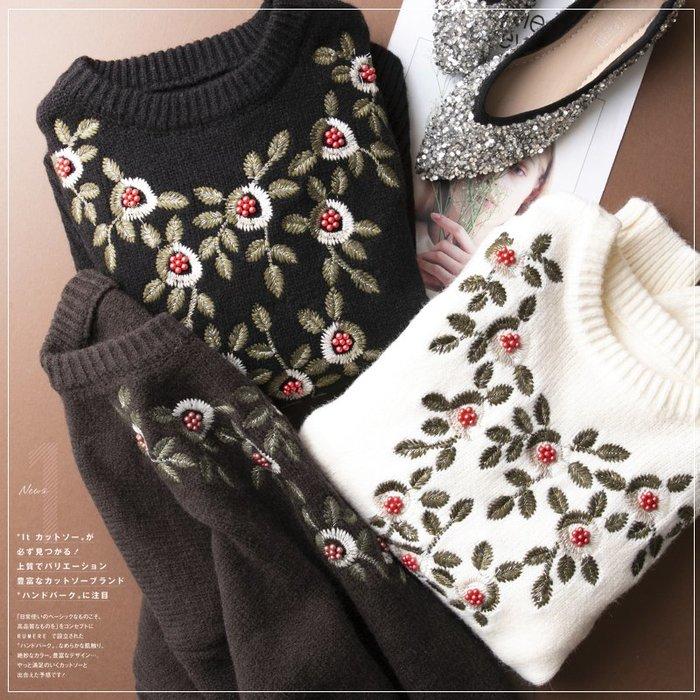 精品款-撞色提花亮絲刺繡小花針織衫
