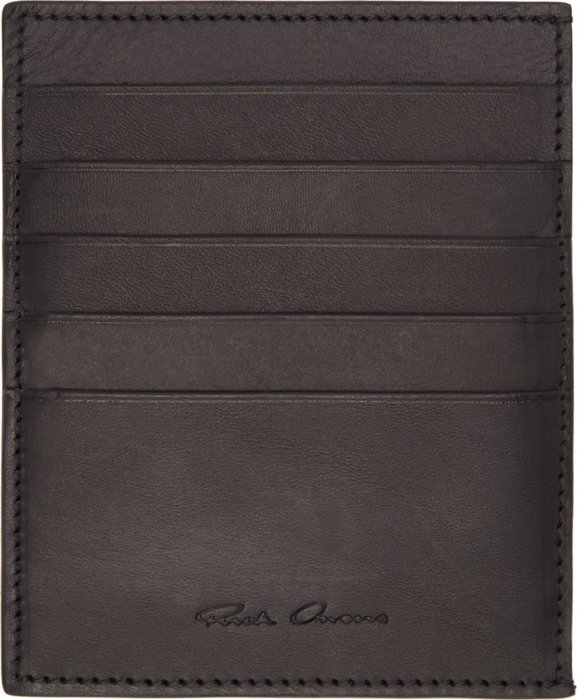 RICK OWENS Black Leather Toadskin Paneled Card Holder
