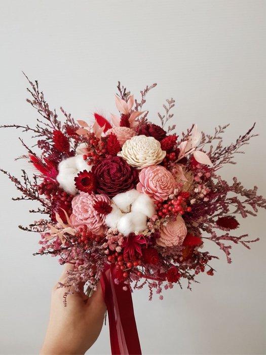 D103。紅色系乾燥捧花。森林大捧花。台北歡迎自取。西門【Flower&House花藝之家】