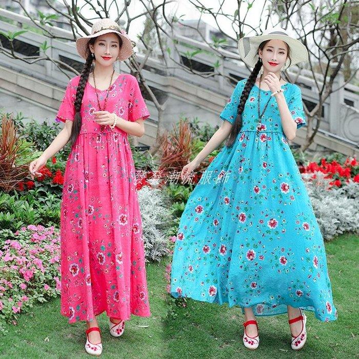 發發潮流服飾中國風女裝2019夏季長裙女民族風大碼女裝復古棉麻印花寬松連身裙