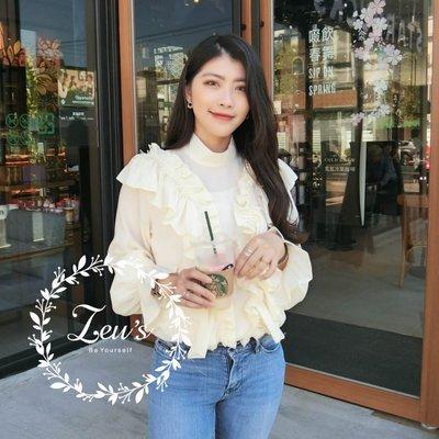 【ZEU'S】韓國春裝俏皮甜美休閒喇叭袖雪紡衫『 02119902 』【現+預】B
