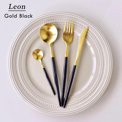 聚吉小屋 #熱賣#LEON系列西餐餐具刀叉勺高顏值餐具18/10不銹鋼高逼格牛排刀叉(價格不同 請諮詢後再下標)