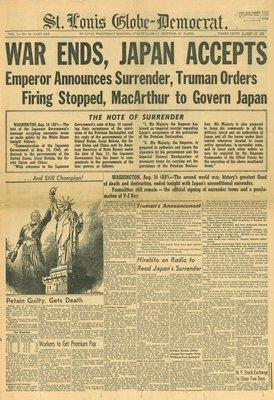 (徐宗懋圖文館) 二戰1945年8月15日 美國報紙《St. Louis Globe-Democrat》原件