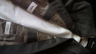 Hugo Boss super 100 淺灰條紋雙排扣正式西裝套裝