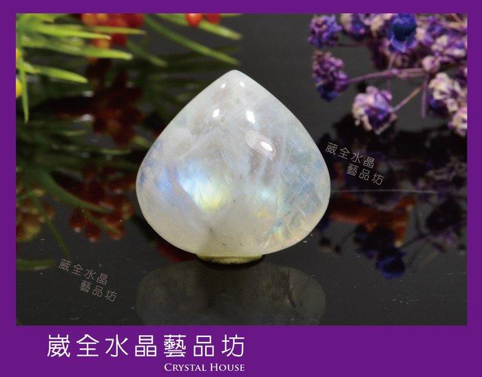 【崴全水晶】💖戀人之石💖 藍暈 月光石 墜子【約5.9g】【附銀墜扣,如需裝好墜扣,請留訊息】