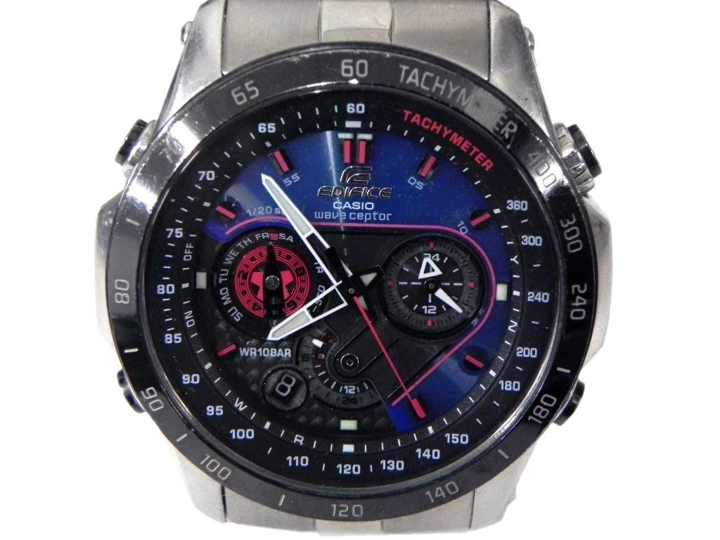電波錶 [CASIO EQW-M1001] EDIFICE視覺系3D賽車電波錶[藍色+碳纖面]
