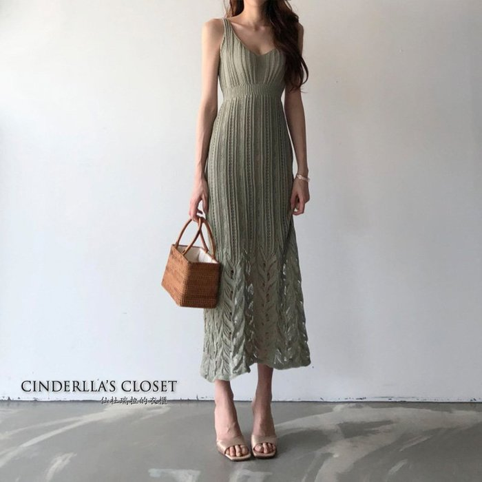 《仙杜瑞拉的衣櫃》sk1118 夏季款不悶熱 冰絲針織鏤空編織 高腰收腰顯瘦連身裙