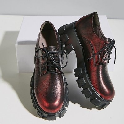 Fashion*厚底松糕鞋 真皮坡跟系帶擦色小皮鞋 歐美百搭布洛克厚底鞋潮『淺金色 酒紅色』34-39碼