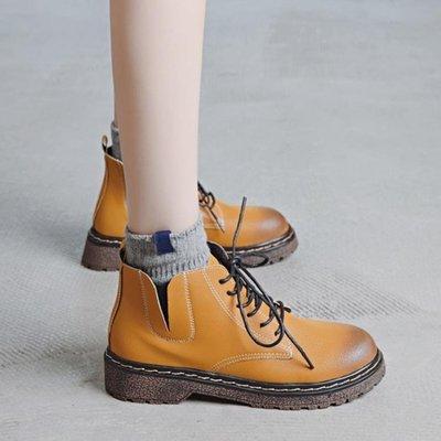 ☜男神閣☞原宿馬丁靴女英倫風新款2018秋季女鞋正韓百搭短靴棉鞋