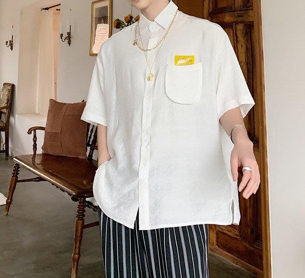 FINDSENSE品牌 訂製 韓系男裝 G6 正韓白襯衫短袖男白襯衫五分袖潮牌日本風簡約寬鬆白色素面襯衫立體口袋短袖上衣