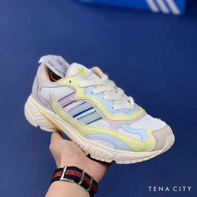 ADIDAS ORIGINALS TEMPER RUN PRIDE 網面透氣 白藍黃 男女鞋 休閒運動鞋 慢跑鞋