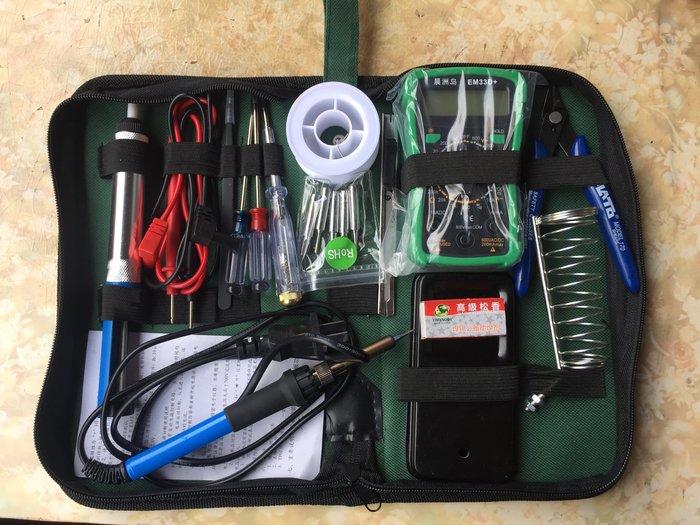內熱恆溫電烙鐵套裝萬用表套裝工具包電子家用維修焊錫工具