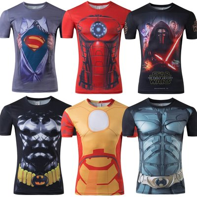 【綠色運動】17款 男士英雄衣美國隊長 蝙蝠俠 大戰超人 緊身衣 圓領牛奶絲 運動速幹短袖T恤 吸濕排汗速幹 預定款 迪