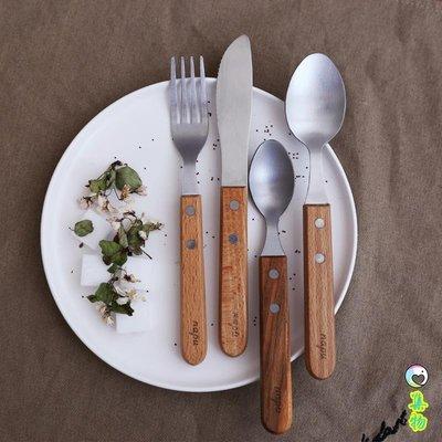(2件免運)西餐刀叉餐具套裝甜點勺子 櫸木手柄不銹鋼刀叉勺木柄西餐刀具勺 集物生活