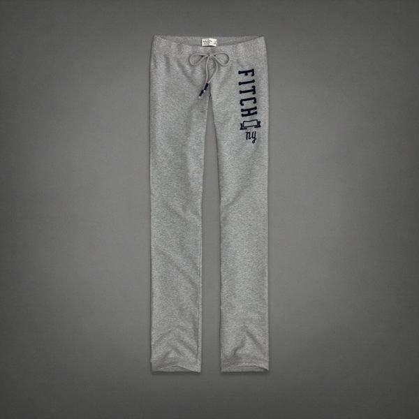 Maple麋鹿小舖 Abercrombie&Fitch * AF 灰色貼布電繡字母長棉褲 *( 現貨XS號 )