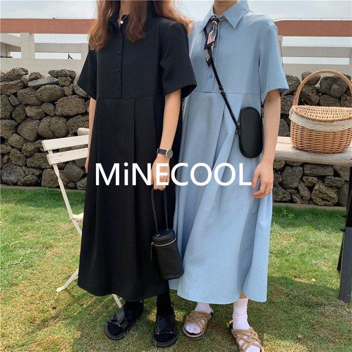 MiNE SHOP韓國 復古小清新甜美中長款連衣裙 M9604-9兩色  均碼