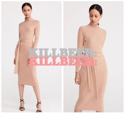 KillBeer:身為名媛的自傲之 歐美復古品牌RESERVED氣質百搭性感顯瘦裸色彈力針織綁帶連身裙長洋裝102506