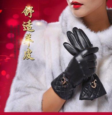 女士秋冬季頭層皮手套真皮 可愛韓版加厚保暖羊皮含羊毛內裏