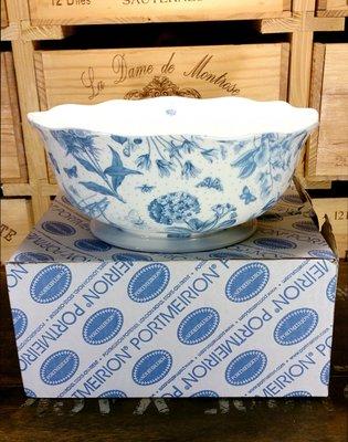 """英國Portmeirion瓷器-Botanic Blue植物藍11""""沙拉碗:英國 瓷器 餐具 沙拉碗 設計 收藏"""