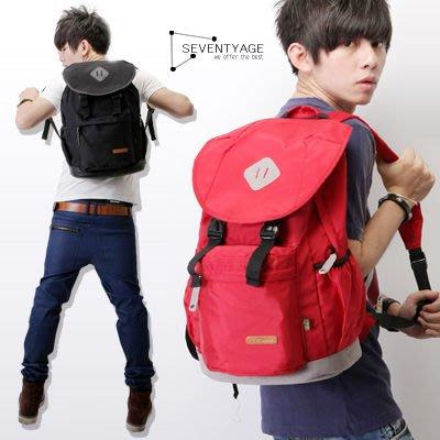 ∥柒零年代∥Unusual【N7518J】韓版街頭潮流皮革貼布底部麂皮拼接大容量後背包(LJ925)