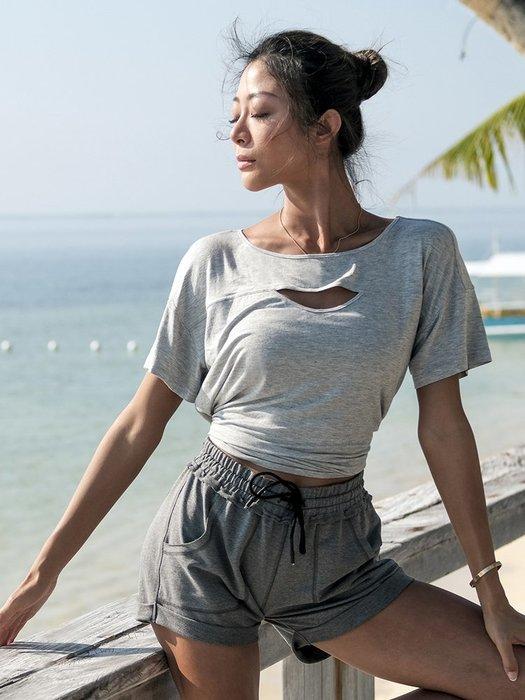 運動上衣 寬鬆休閒跑步健身速乾衣女夏季薄款短袖瑜珈服--崴崴安