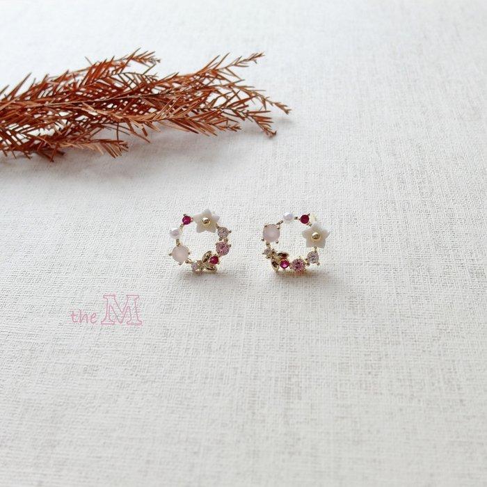 《正韓》小清新系列-花環圈圈小耳環-925純銀耳針