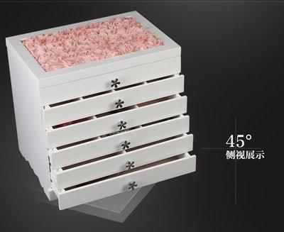 【優上】首飾盒木質多層公主飾品盒收納盒韓國大容量手錶項鍊耳環收納櫃「S05-白色蕾絲款」