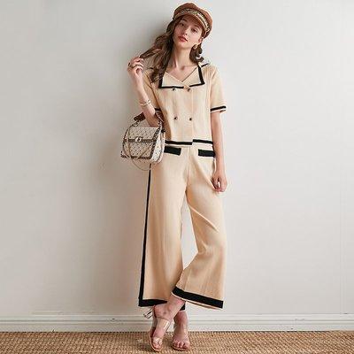 ☆TANG KOREA*╮正韓 雙排扣撞色條紋針織開衫+闊腿褲套裝