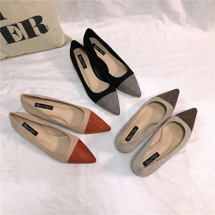 溫柔仙女鞋 復古粗跟小香風拼接單鞋尖頭淺口中跟氣質百搭工作鞋