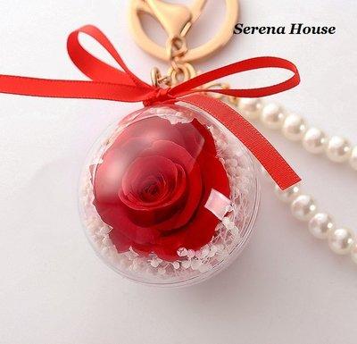 ~Serena House~不凋花永生花 小王子 美女與野獸 紅玫瑰花吊飾 生日禮物 鑰匙圈 婚禮小物 特價