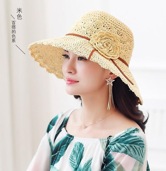~Linda~布塔草帽女夏季韩版防晒遮阳帽子可折叠防晒太阳帽花朵旅游沙滩帽