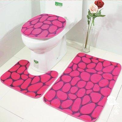 新品3d壓花馬桶地墊三件套浴室防滑地毯套裝