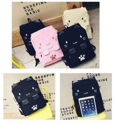 ☆不吃沙西米的貓☆韓國可愛卡通貓咪雙肩後背包日系休閒百搭刺繡書包男女背包