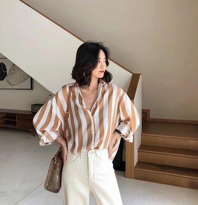 *T.M.L room*新款韓版薄款豎條紋寬鬆長袖襯衫