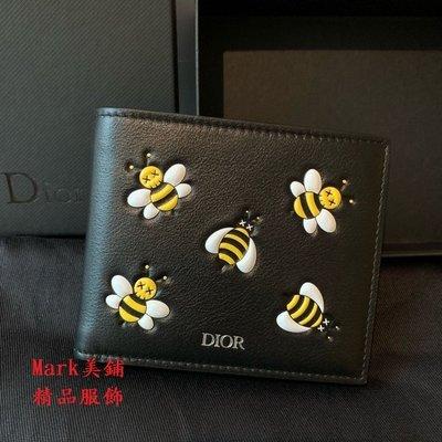 【Mark美鋪】 DIOR X KAWS 聯名 蜜蜂 LOGO 黑色 短夾 錢包