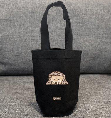 黑色系列《柴犬-趴著》台灣製棉麻布 杯套 提袋 插畫 柴犬 寵物 聖誕節 / 蒼蠅星球 / 手創市集