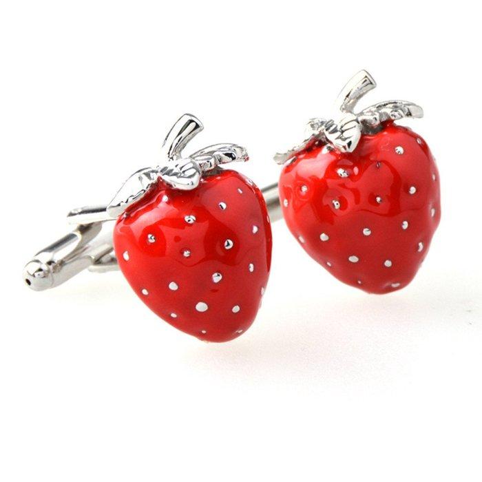 ☆TA精品☆ 男士精品-袖扣-紅色草莓袖扣 40445910948