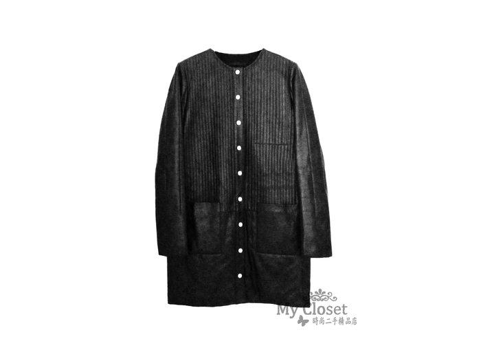 My Closet 二手名牌 THE ROW 超有型黑色鋪棉 小羊皮 長外套