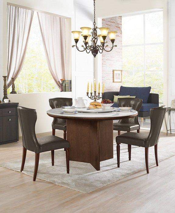 【南洋風休閒傢俱】餐桌椅系列 -洛朗石面4.5尺淺胡桃色實木餐桌/西嘉皮餐椅 一桌四椅餐桌椅組