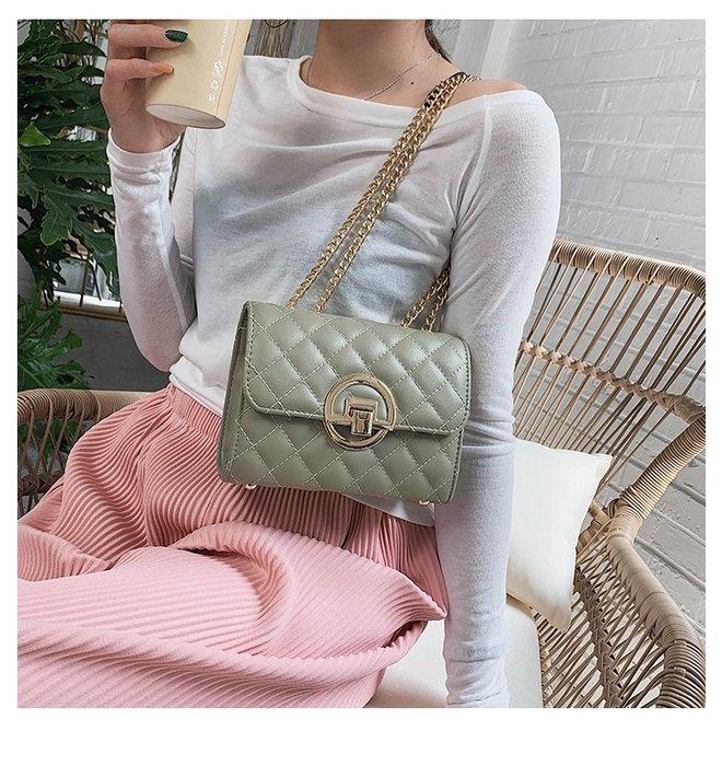 FINDSENSE X 韓國 女士 時尚菱格鏈條 斜挎包 百搭 側背包 單肩包 小方包