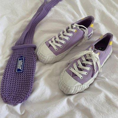 帆布鞋2019網紅韓版學生百搭小白鞋女紫色帆布鞋港風板鞋