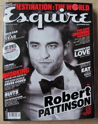 韓版男性流行時尚雜誌Esquire Korea 12年11月號:Robert Pattinson+蘇志燮+車勝元+朱智勛