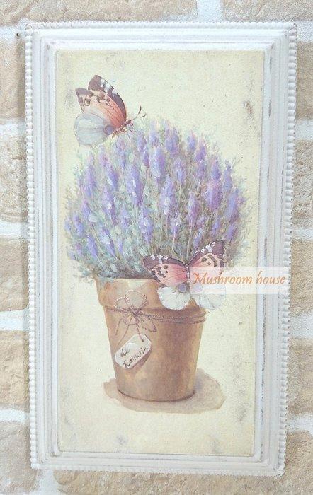 點點蘑菇屋 歐式古典紫色薰衣草立體木框畫 木板彩繪掛畫 壁飾 掛飾 掛畫 鄉村風雜貨 現貨