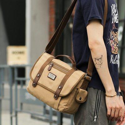 [包妳喜歡]郵差包男包斜挎包休閑帆布包...
