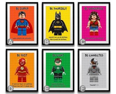 C - R - A - Z - Y - T - O - W - N 樂高英雄人物掛畫 DC超人電影掛畫 正義聯盟裝飾掛畫