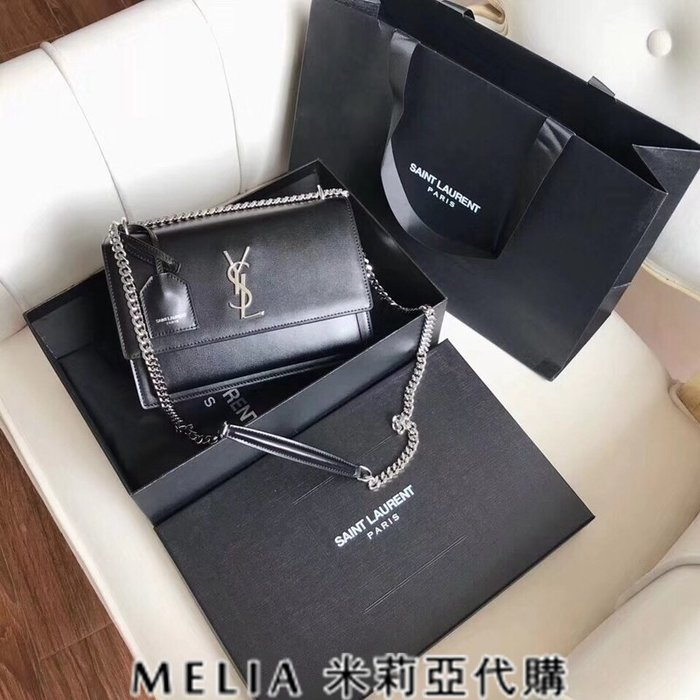Melia 米莉亞代購 歐洲代購 Saint Laurent YSL 18ss 8月新品 單肩斜背 牙籤紋 大款 黑色