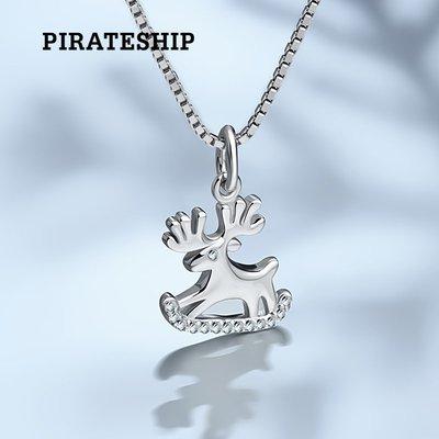 FEI日韓代購~海盜船銀飾歡頌圣誕的魯道夫銀項鍊 韓版時尚鎖骨鍊女圣誕禮物鹿