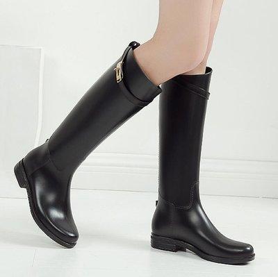 雨靴 長靴韓國時尚雨鞋女 高筒防滑夏雨靴女 成人防水鞋女長筒平底水靴膠鞋—莎芭