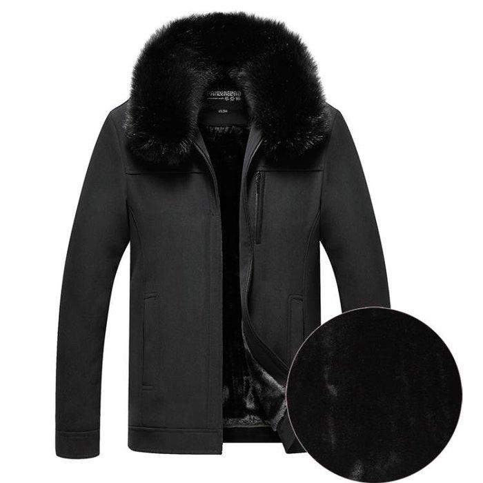 加絨加厚中老年翻毛領外套男士休閒冬裝老年人夾克爸爸裝爺爺外衣-小精靈生活館